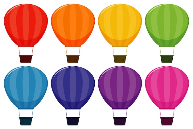 Set of hot air balloons in eight colors