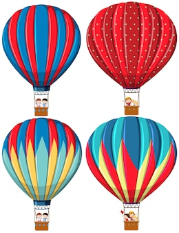 Set of hot air balloons