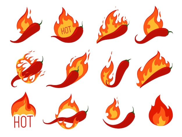 Set of hot chili peppers on fire. icons for spicy pepper food. isolated on a white background.