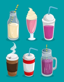 A set of hot and cold beverages