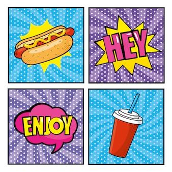 Установите хот-дог с сообщениями поп-арта и пластиковой чашкой содовой