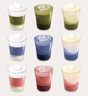 Set of hot latte milk : green, blue and pink :  illustration