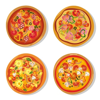 Set of hot pizzas in flat style