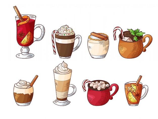 Set of hot winter drinks.