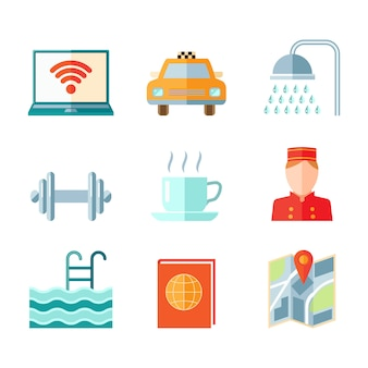 Set of hotel computer car taxi shower gym icons in flat color style