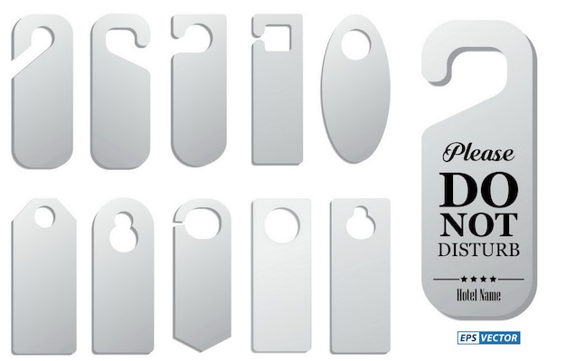 Set of hotel room hangers template or do not disturb information or template label hotel concept ep