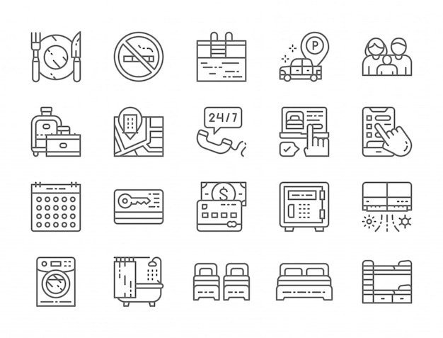 Set of hotel service line icons