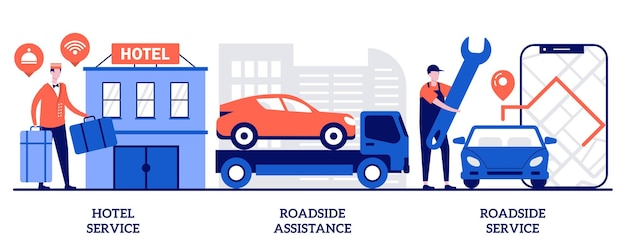 Set of hotel service, roadside assistance and service