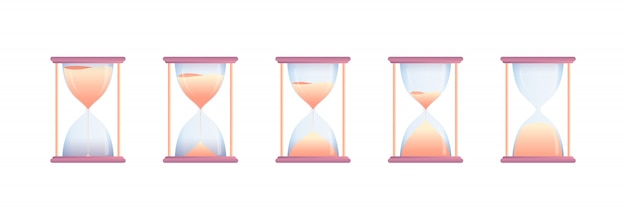 Set of hourglasses at different stages countdown
