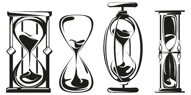 Set of hourglasses in monochrome style.