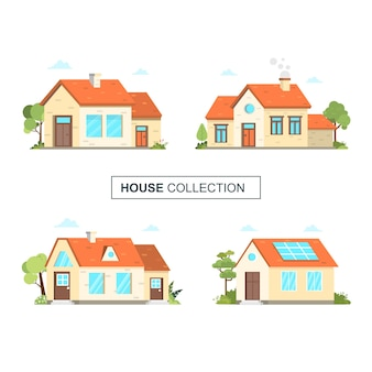 Набор дома коллекции дом архитектор иллюстрации фоне здания