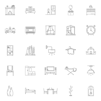 Set house hold vector outline icon
