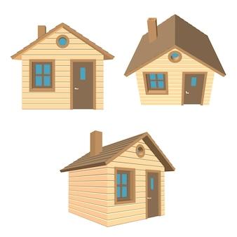 茶色の屋根の1階建ての木造住宅を設定します。ベクトルイラスト。