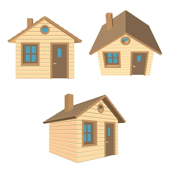 Set house one-storey wooden with a brown roof. vector ilustration.