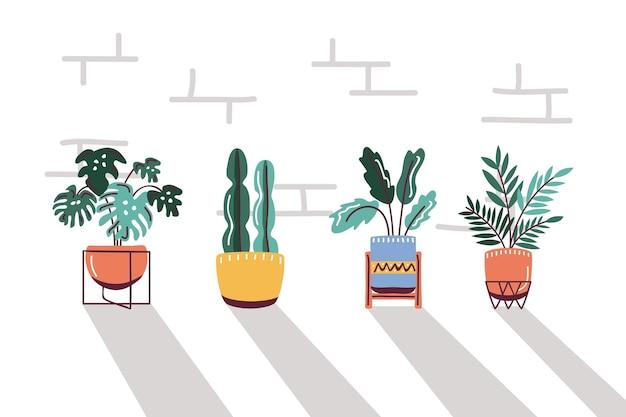 Set house plants in pots, scandinavian style