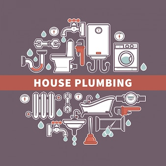 Set of house plumbing with drops of water