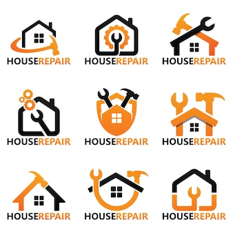 Set of house repair logo template