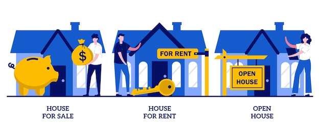 Set of house for sale and for rent, open house, real estate agent service