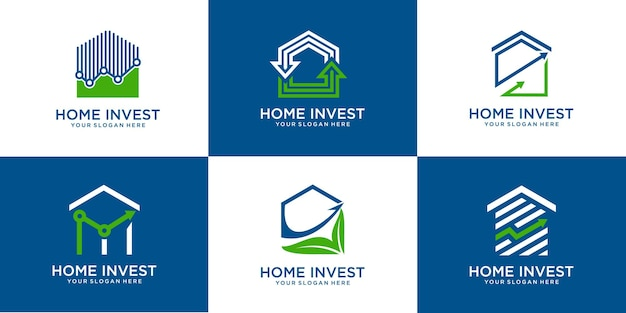Set of house shapes and investment. statistics logo template premium vector