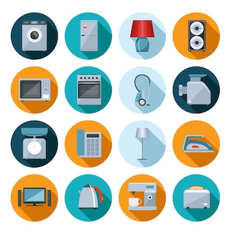 Set of household appliances flat icons on colorful round web buttons with a washing machine