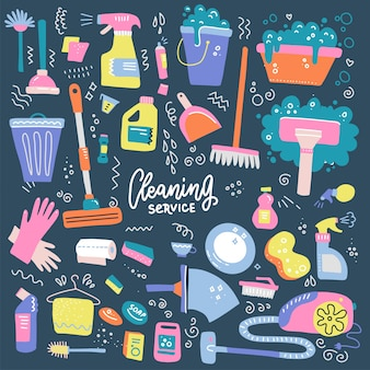 Set of household cleaning supplies isolated icons in hand drawn flat style.