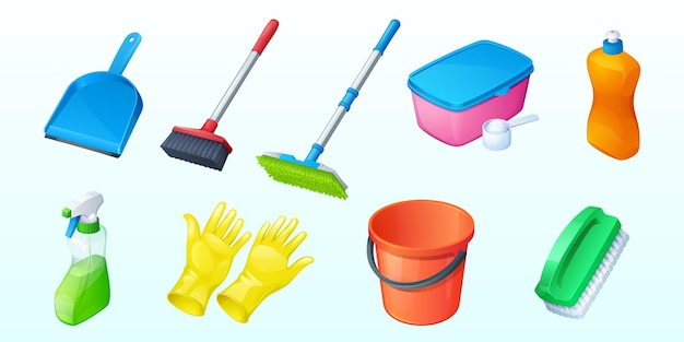 Set of household equipment scoop cleaning brush