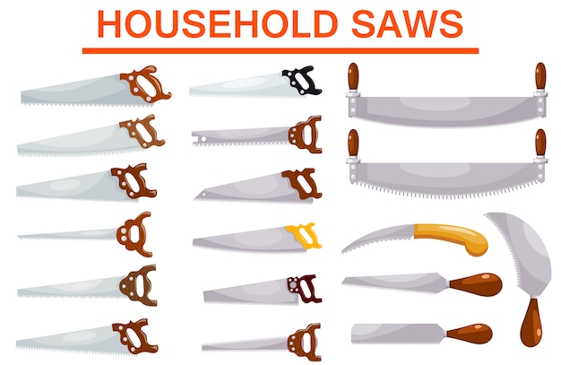 Set of household saws in a style of a cardboard on white