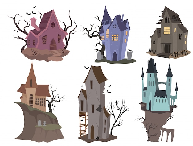 Set of houses for halloween. collection of cartoon castles with monsters.