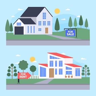Insieme di case in vendita o in affitto