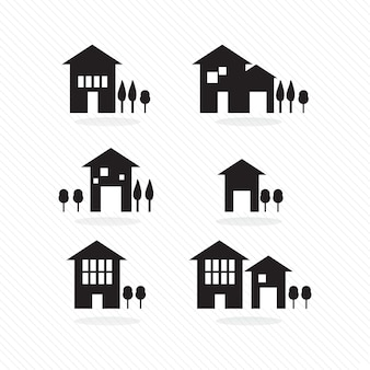 Set of houses silhouettes on white background