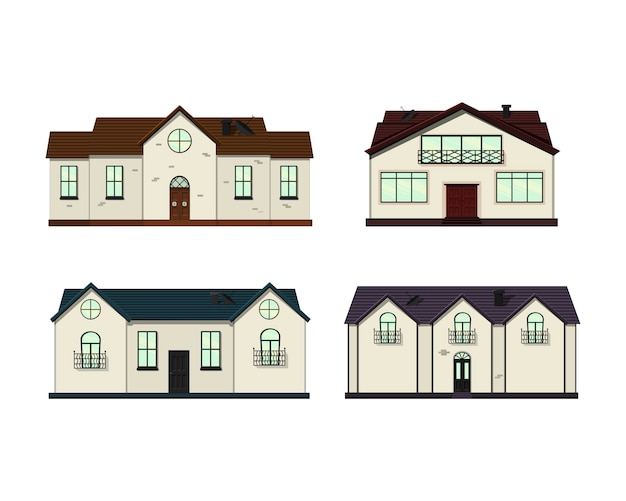 Set of houses on white