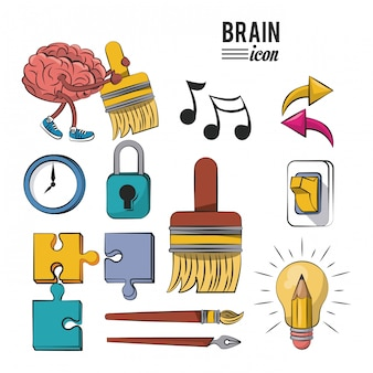 Set of human brains icons vector illustration graphic design