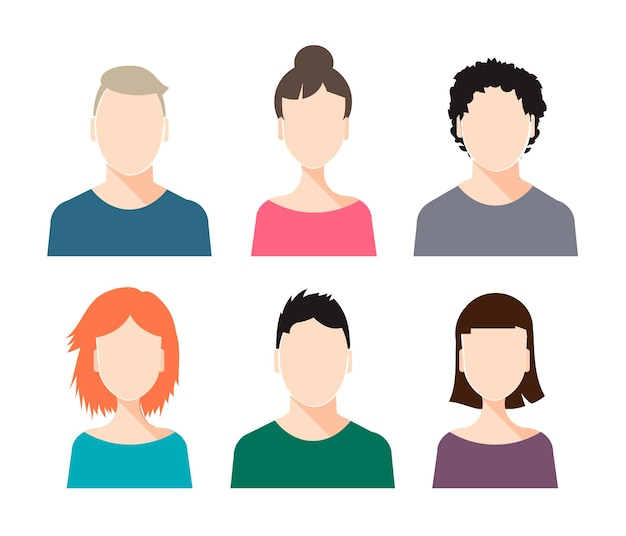 Set of human faces - male and female, isolated, with different hairstyles. avatars
