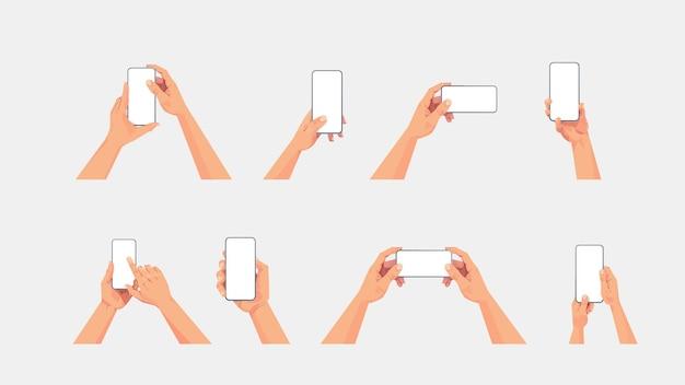 携帯電話の概念を使用して空白のタッチスクリーンでスマートフォンを保持している人間の手を設定します