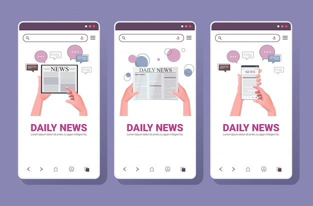 Set human hands using digital gadgets reading daily news online newspaper press mass media chat bubble communication concept. smartphone screens collection horizontal copy space illustration