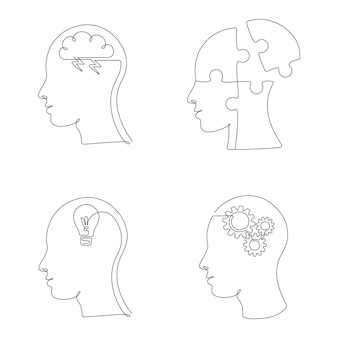 Set of human head with mental state and emotions in one line drawing. vector illustration creative mind, study and design icons, logos for psychologist social media post