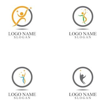 Set of  human people success people care logo