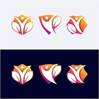 Set human physiotherapy logo template