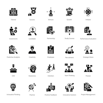 Set of human resource glyph vector icons