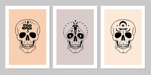Set of human skulls with snake butterfly dragonfly moon star collection of human skull portrait