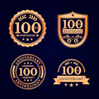 Set of hundred anniversary labels