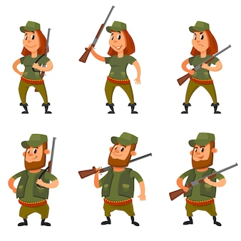 Set of hunters in different poses. male and female characters in cartoon style.