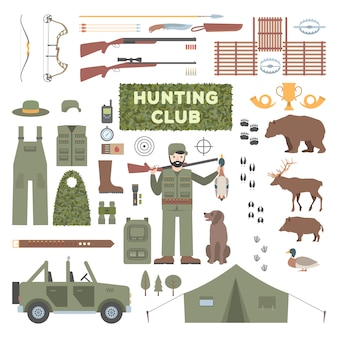 Set of hunting accessories.