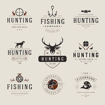 Set of hunting and fishing labels, badges, logos vintage style. deer head, hunter weapons, forest wild animals and other objects. advertising hunter equipment.