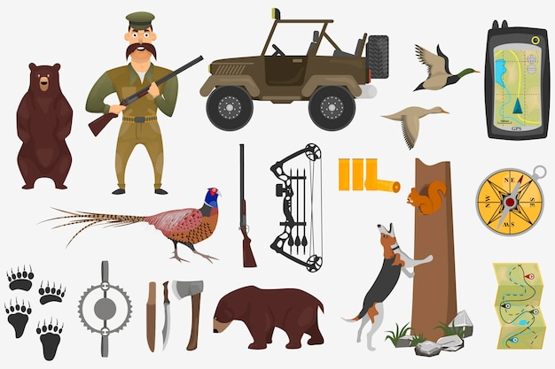 Set of hunting illustrations in cartoon style.