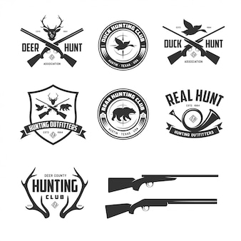Set of hunting related labels badges emblems