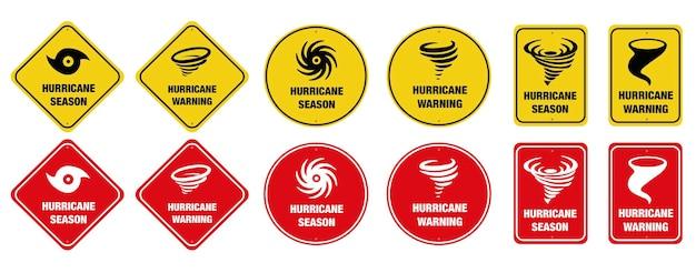 Set of hurricane warning signs. icon.