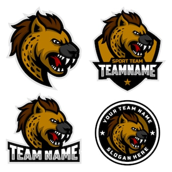 Set of hyena mascot logo for sport team mascot logo.