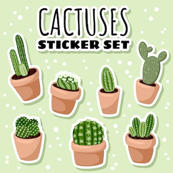 Set of hygge potted cactuses succulent plants stickers.