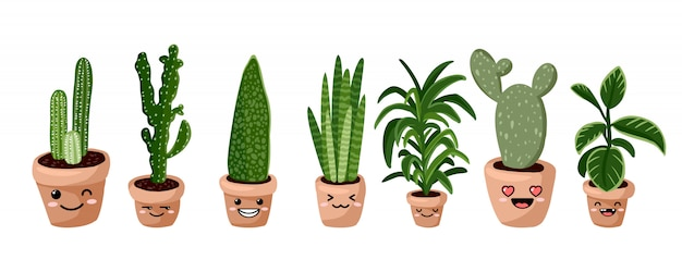 Set of hygge potted kawaii emoticon emoji succulent plants. cozy lagom scandinavian style collection of plants